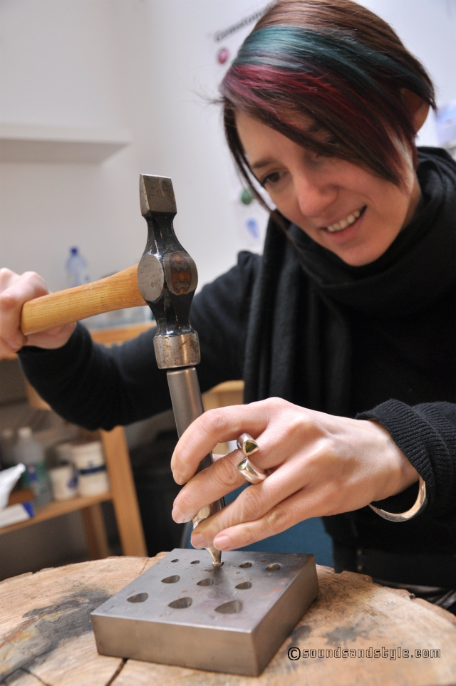 shaping the silver setting to perfection using the collet block